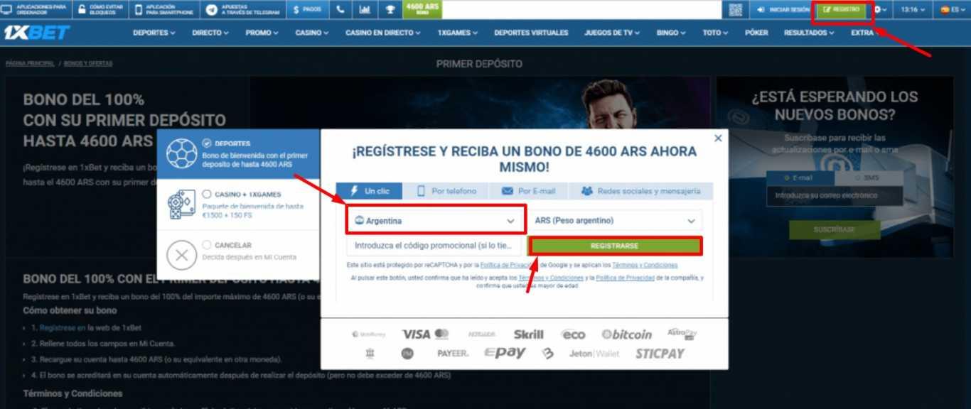 1xBet registro argentina