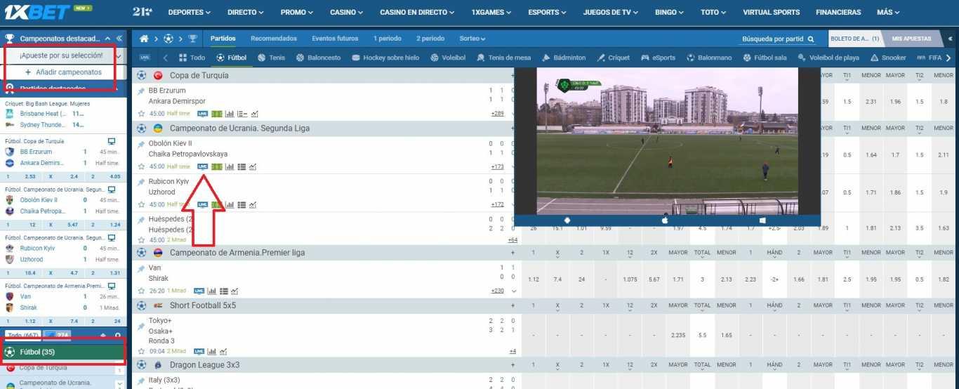 fútbol videostream 1xBet